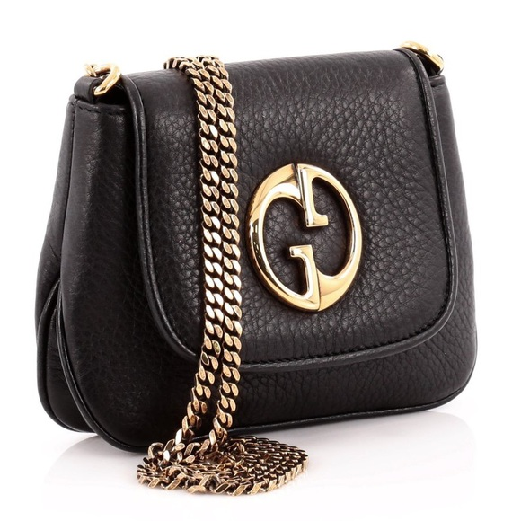 6427138b51b Gucci Handbags - GUCCI Black 1973 Gold Chain Crossbody Purse